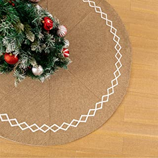 DegGod Burlap Christmas Tree Skirt with Hand-Sewn White Lace Decor, 48 inches Country Jute Xmas Tree Base Cover Mat for Ch...