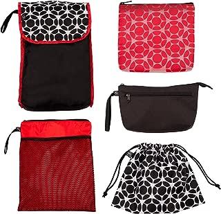 J.L. Childress 5-in-1 Diaper Bag Organizer for Diaper Bag, Purse or Travel Bag, 5 Piece Set, Black/Fluorescent