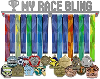 VICTORY HANGERS My Race Bling Medal Hanger Display - Wall Mounted Award Metal Holder - 100% Stainless Steel Rack for Champions