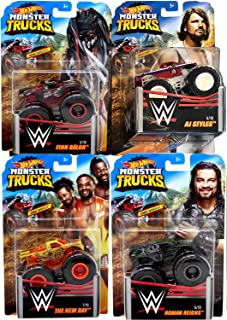 Mania Monster Crew Team Action 2019 WWE Giant Wheels Pickup + Wrestling Vehicle Pack Mini Monster Truck AJ Styles / Finn Balor / The New Day & Roman Reigns 4 Items Jam Bundle Epic Smash Battle