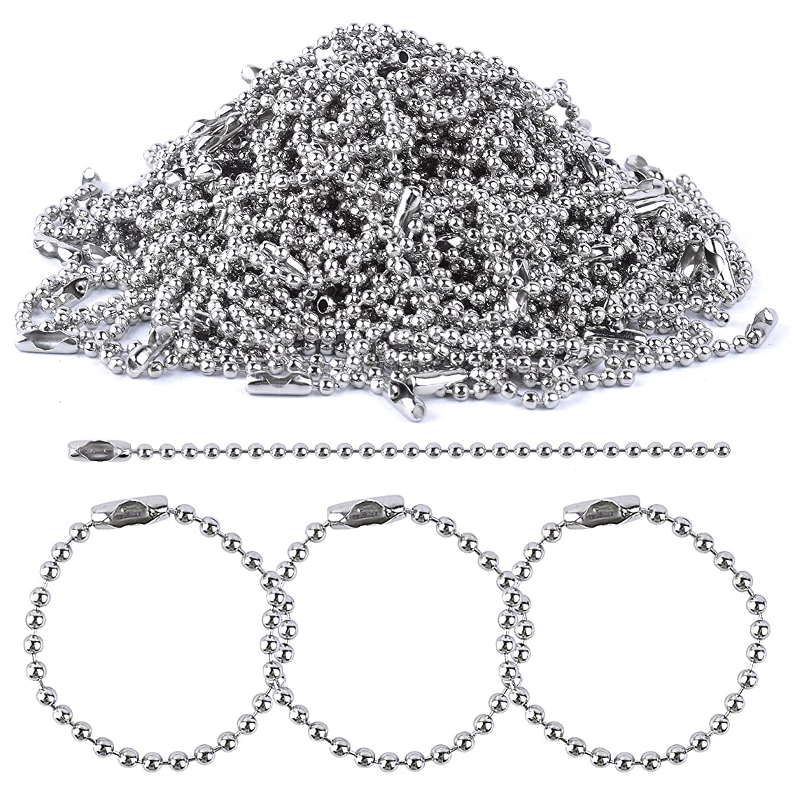 BronaGrand 150 Pieces Ball Chains Bead Connector Clasp 2.4 mm Diameter Keychain Tag Key Rings 100mm Long