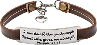 Religious Bracelets for Women Christian Leather Bracelet Inspirational Gifts for Her