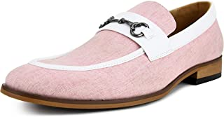 Amali Men's Moc Toe Duel Linen Loafer with Metal Bit and Smooth Trim Slip On Dress Shoe, Style Brisbane
