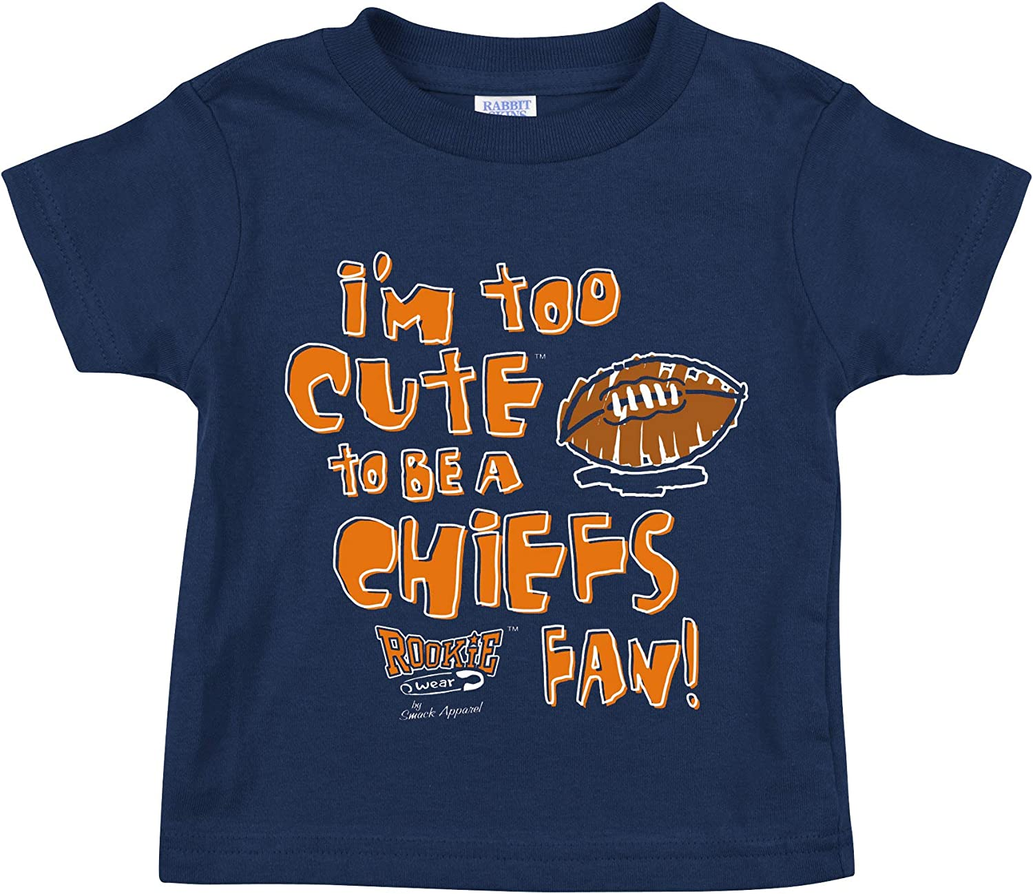 NB-4T Smack Apparel Denver Football Fans Navy Onesie or Toddler Tee Im Too Cute to be a Chiefs Fan