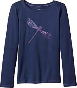 Life is Good Kids - Dragonfly Pattern Long Sleeve Crusher Tee (Little Kids/Big Kids)
