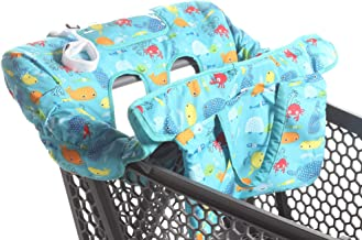 Shopping Cart Covers for Baby - Baby High Chair Cover - Toy Loops, Pockets, Bottle Strap and Fun Sea Pattern - Germ Protection Seat Cover for Baby Boys and Girls - Perfect Registry Baby Shower Gift