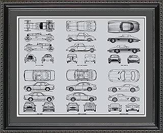 Mercedes Benz #2 Blueprint Collection Framed Car Art Gift, 20x24