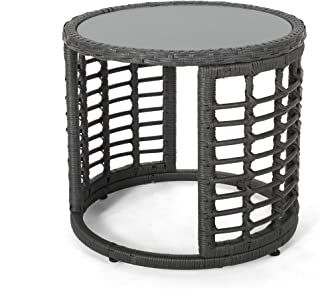 Anne Indoor Modern Boho Wicker Side Table with Tempered Glass Top, Gray