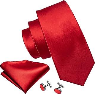 Barry.Wang - Juego de corbatas para hombre con gemelos de pañuelo Rojo rosso Talla única