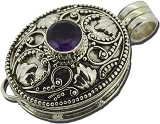 Silver Box Prayer Necklace Locket Pendant Amethyst 925 Sterling Silver