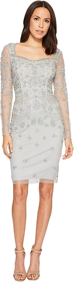 Adrianna Papell - Short Beaded Long Sleeve Dress with Sweetheart Neckline