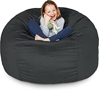 Lumaland Luxury 3-Foot Bean Bag Chair with Microsuede Cover Black, Machine Washable Big Size Sofa and Giant Lounger Furniture for Kids, Teens and Adults