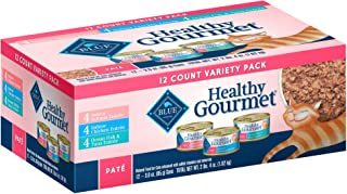Blue Buffalo Healthy Gourmet Variety Pack Indoor Salmon, Chicken and Ocean Fish & Tuna Pate Wet Cat Food