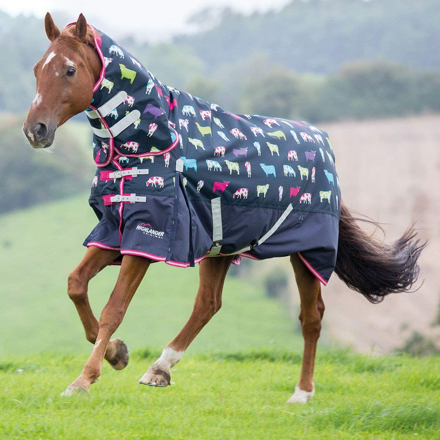Shires Highlander 200g Combo Horse Turnout Rug, in Cow Print 57, Cowprt