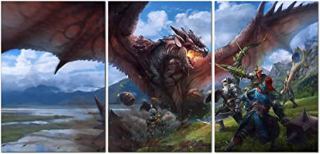 Printing Pira - Monster Hunter World Game Official Poster Set of 3 - Playstation 4, Xbox 360, PC Game Posters (18x24)