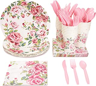 Blue Panda Vintage Floral Party Supplies (Serves 24) Knives, Spoons, Forks, Paper Plates, Napkins, Cups