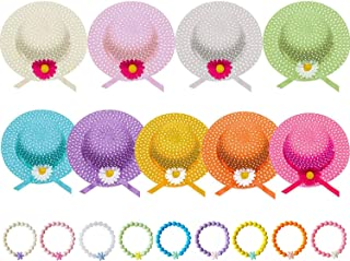 Girls Sunflower Tea Party Dress Up Sets, includes 9 Straw Tea Party Hats and 9 Bracelets in Assorted Colors