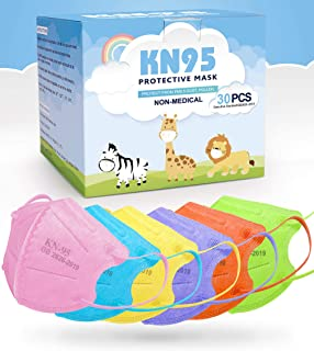 [6 Colors 30PCS] KN95 Face Mask for Kids, Individually Wrapped Kids Masks Disposable, KN95 Mask for Kids, Efficiency 98.1%...
