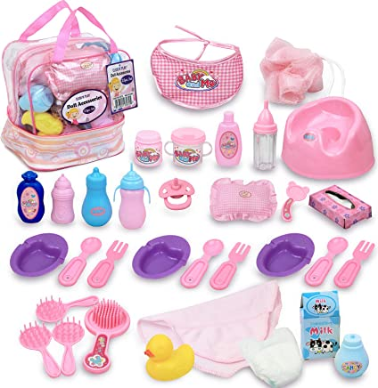 Click N' Play 33Piece Baby Doll Feeding & Caring Accessory Set in Zippered Carrying Case, Brown