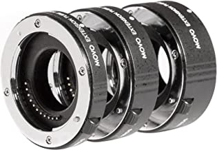 Movo MT-FT47 3-Piece AF Chrome Macro Extension Tube Set for Micro 4:3 Mount Mirrorless Camera System (Compatible with Olympus Pen, Panasonic Lumix, BMCC) with 10mm, 16mm and 21mm Tubes