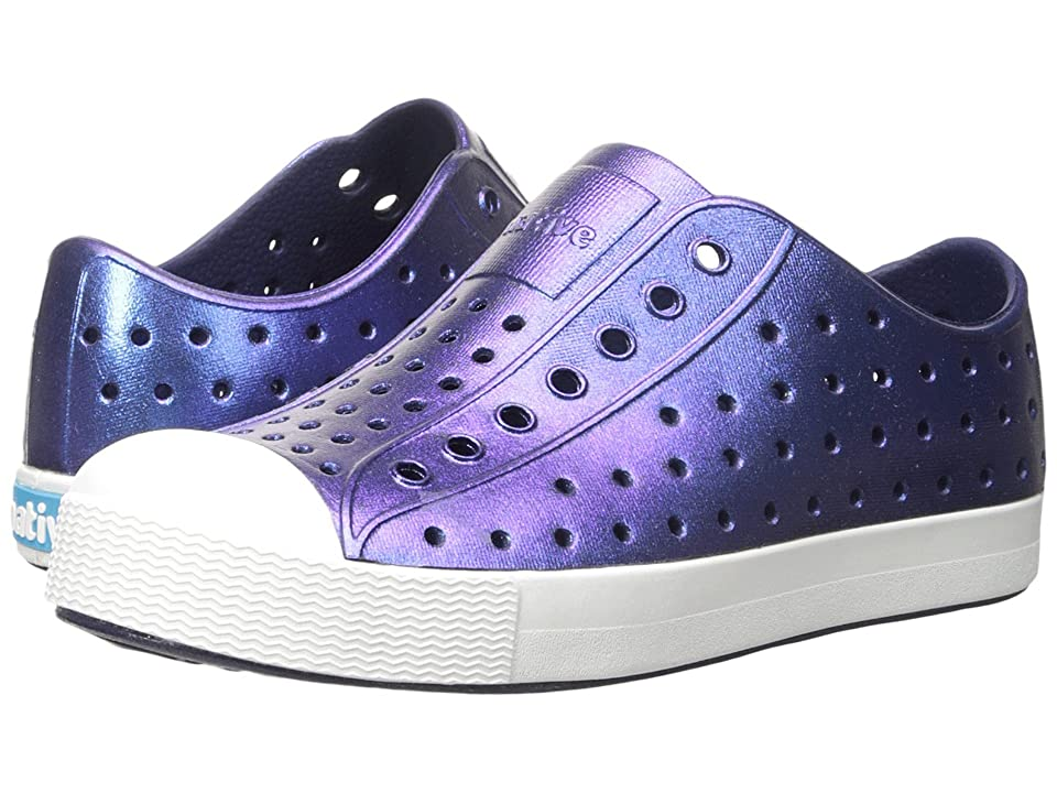 Native Kids Shoes Jefferson Iridescent (Little Kid) (Regatta Blue/Shell White/Galaxy) Girls Shoes