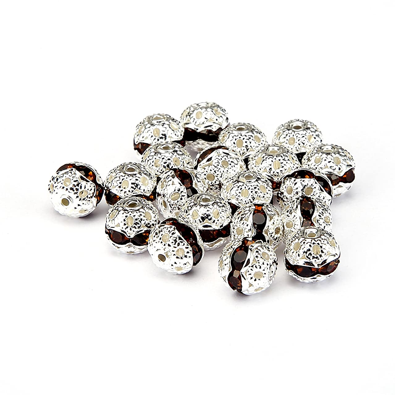 BRCbeads Top Quality 8mm SMOKED TOPAZ Color Metal Style #1 CRYSTAL RHINESTONE BALL Shape SPACER BEADS Silver Plated 20pcs Per Bag For Jewelry Making