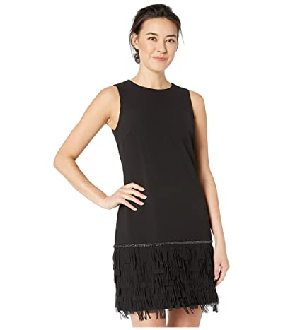 Tahari by ASL Petite Sleeveless Crepe Sheath with Fringe Bottom (Black) Women