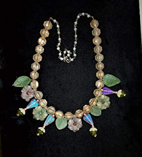 Fairy Woodland Bridal Necklace, Pale Pink & Green Matte Frosted Glass Foxglove Flowers Figural Leaves, Antique Frosted Gilted Beads Neckl