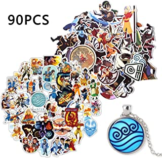 Kilmila The Last Airbender Stickers (90Pcs with Jewelry tycoonWater Tribe Necklace).Decal for Laptop Water Bottle Bike Car Motorcycle Bumper Luggage Skateboard Graffiti