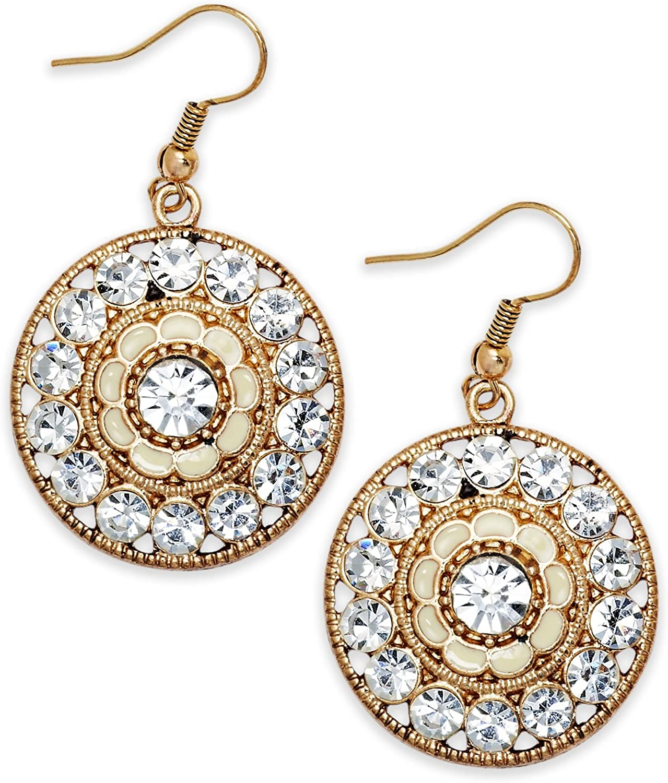 American Rag Earrings, Gold-Tone Rhinestone Round Dangle Drop Earrings