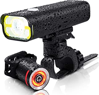 BrightRoad Rechargeable 800 Lumens Bike Light Front and Back Bicycle Lights USB Headlight & Tail Lights IPX6 Waterproof fo...