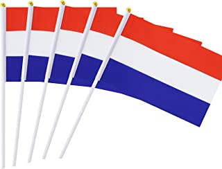 """Best Hand Held Netherlands Flag Dutch Flag Stick Flag Mini Flag 50 Pack Round Top National Country Flags, Party Decorations Supplies For Parades,World Cup,Sports Events,International Festival (8.2 """"x 5.5"""") Review"""