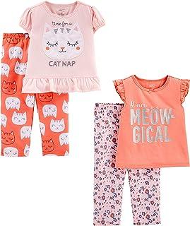 Simple Joys by Carter's Toddler Girls' 4-Piece Fleece Pajama Set (SS Poly Top & Fleece Bottom)