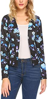 SoTeer Womens Floral Printed Long Sleeve Open Front Cardigan Jacket Work Office Blazer
