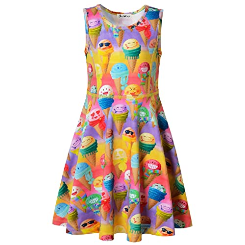 3531d820ab698 Jxstar Girls Summer Dress Sleeveless Printing Casual Party 3-13Years