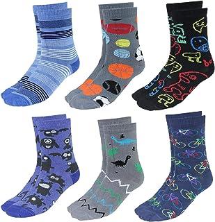 Calcetines Estampados de Colores para Niños, 6 Pares