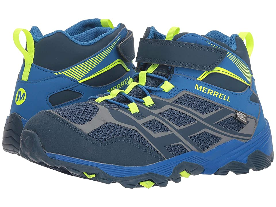 Merrell Kids Moab FST Mid A/C Waterproof (Big Kid) (Navy/Cobalt) Boys Shoes