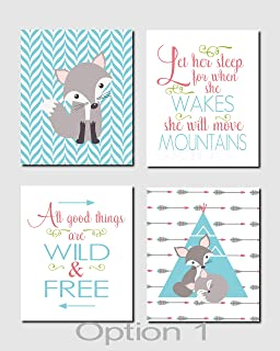 CANVASPrtint Woodland Nursery Art Red Teal Aqua Let Her Sleep All Good Things are Wild and Free Fiona Gray Fox Set of 4 Prints or Canvas 8x10 inch Each