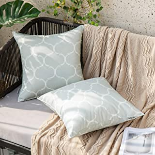MIULEE Pack of 2 Decorative Outdoor Waterproof Throw Pillow Covers Morocco Geometric Floral Pattern Square Pillowcases Cus...