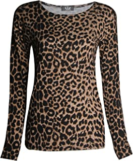 Forever Womens Long Sleeves Leopard Animal Print Stretchy Top