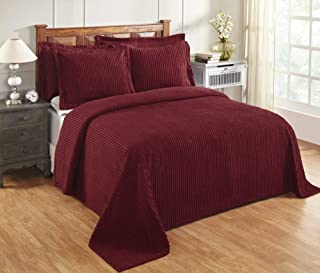 Better Trends Jullian Collection is Super Soft and Light Weight in Bold Stripes Design 100% Cotton Tufted Unique Luxurious Machine Washable Tumble Dry, King Bedspread, Burgundy