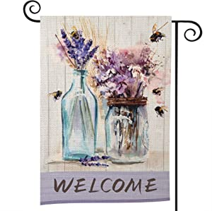 Spring Welcome Outdoor Garden Flag Yard Lawn Flag Seasonal Spring Double-Sided Burlap House Flags Bees and Flowers Mason Jar Purple for Farmhouse for Home Outdoor Decor 12.5 x 18 Inch