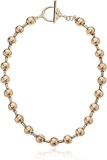 Steve Madden Women's Beaded Bar Yellow Gold-Tone Toggle Closure Choker Necklace