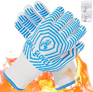 QUWIN Oven Gloves 1472°F Heat Resistant BBQ Gloves Silicone Non-Slip Oven Mitts, Kitchen Gloves for BBQ, Grilling, Cooking, Baking (One Size Fits Most, Blue)-1 Pair