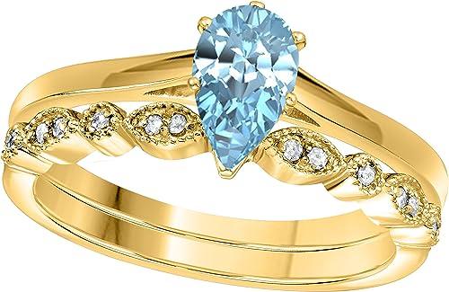 1,00  Birne & Round Cut, Aquamarin mit CZ 925 erling-Silber mit 14Karat GelbGold verGoldet Design Art Deco Vintage Hochzeit Braut setGröße j-z