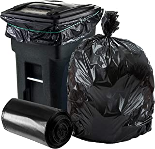 Plasticplace 64-65 Gallon Trash Can Liners for Toter │ 1.2 Mil │ Black Heavy Duty Garbage Bags │ Roll...