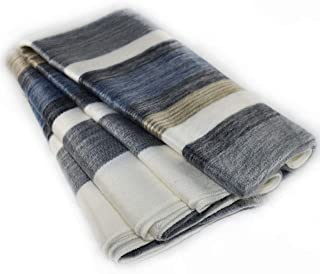 Qisu Alpaca Wool Blanket Throw | Large, Beautiful, Warm | 85 x 65 inches | Ultra-Soft, Hypoallergenic and Breathable | Non-Itchy or Scratchy Fabric | Made in Ecuador (Brown Blue Grey White)