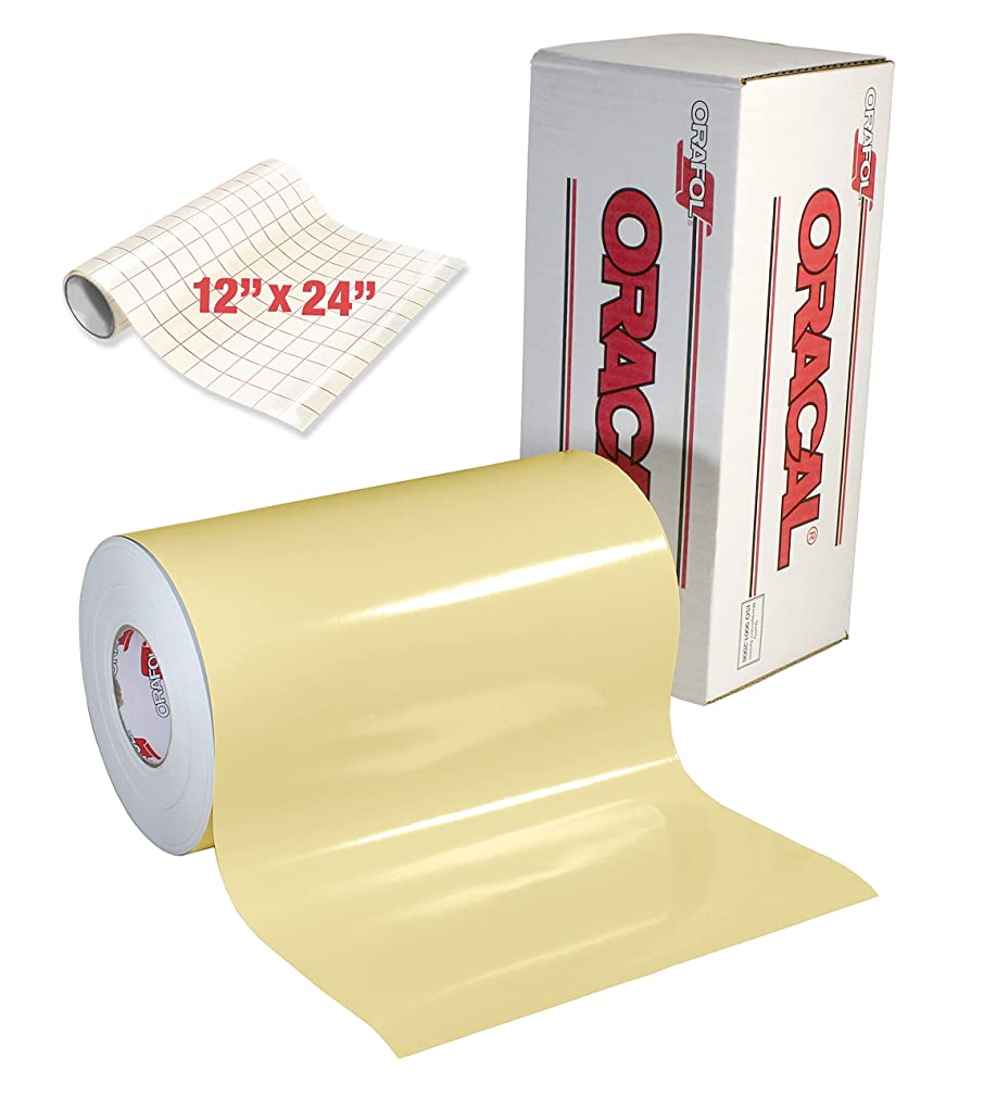 ORACAL 651 Gloss Cream Adhesive Craft Vinyl for Cameo, Cricut & Silhouette Including Free Roll of Clear Transfer Paper (6ft x 12