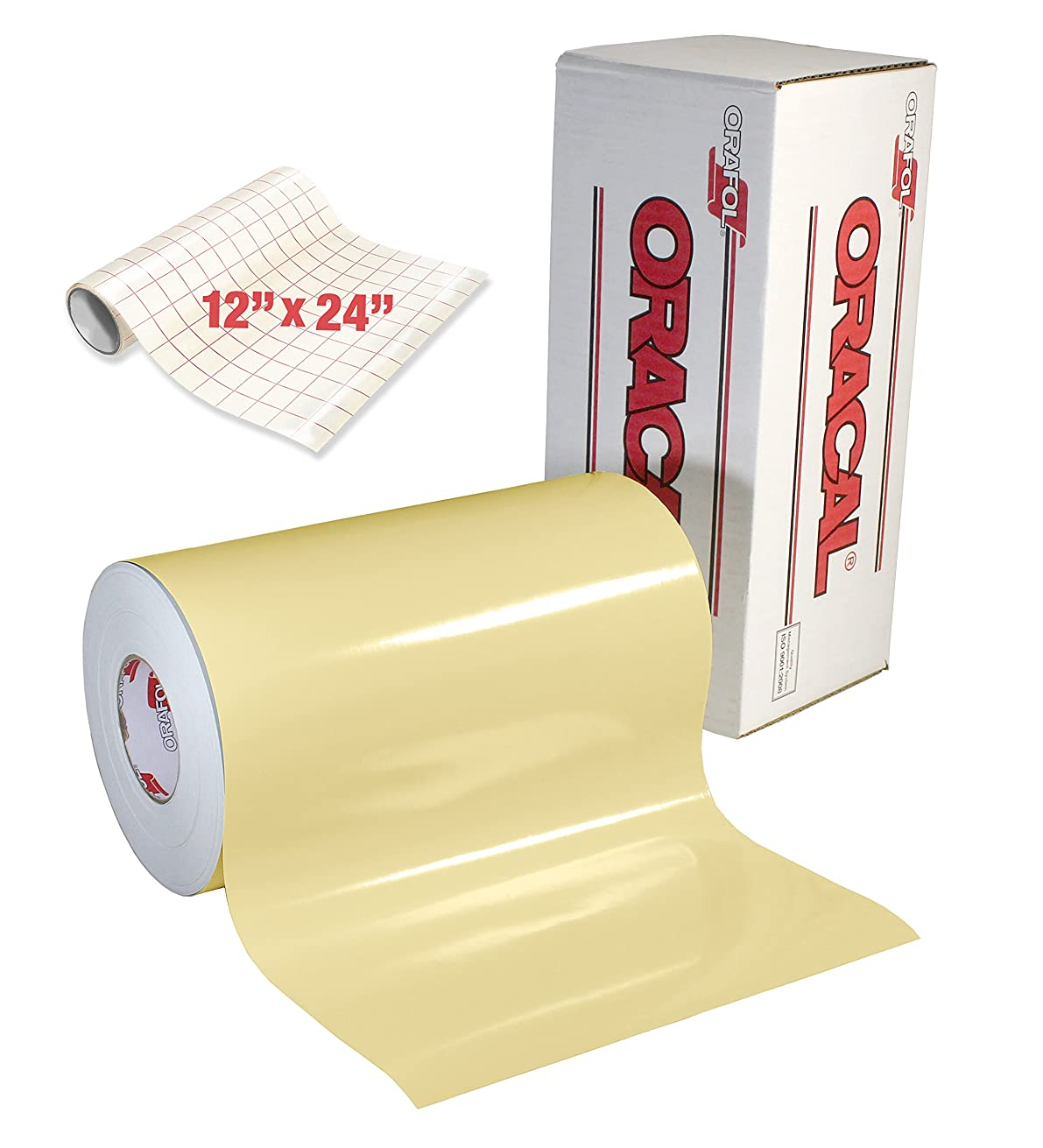 ORACAL 651 Gloss Cream Adhesive Craft Vinyl for Cameo, Cricut & Silhouette Including Free Roll of Clear Transfer Paper (50ft x 12
