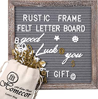 Rustic Frame Gray Felt Letter Board 10x10 with 564 White & Gold Changeable Letters Bonus Months & Days etc 32 Cursive Words Farmhouse Office Home Decor